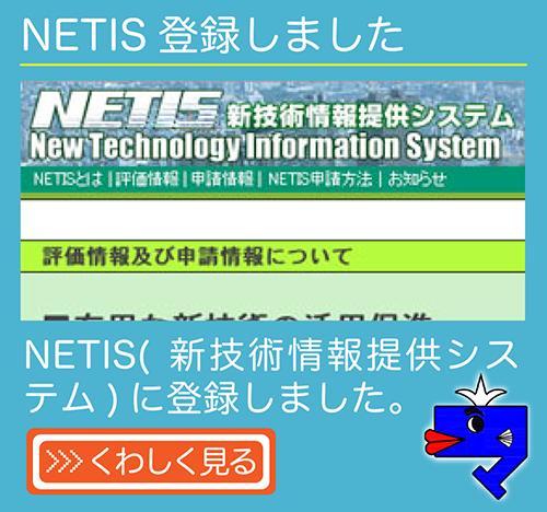 NETIS(新技術情報提供システム)に登録しました。